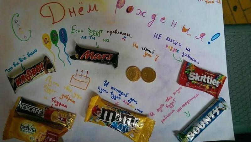 Открыток, прикольные открытки из конфет