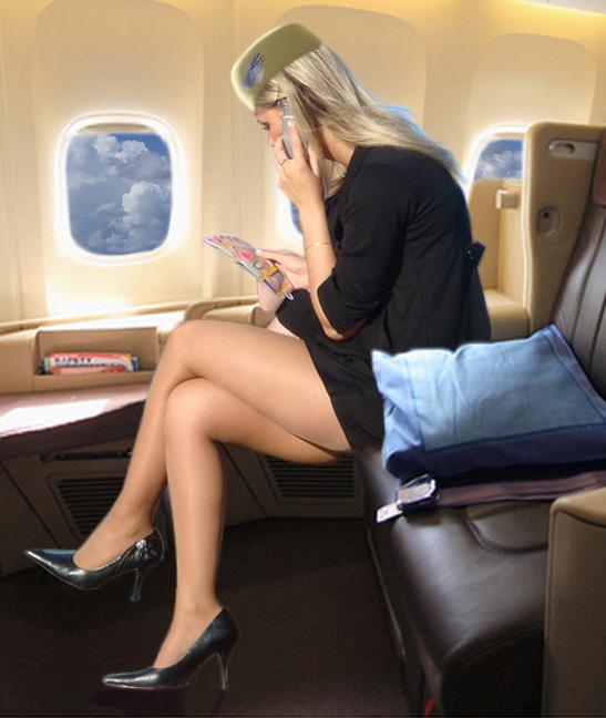 раком в самолете стюардессу