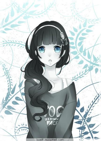 Аниме девушка с черными волосами и зелёными глазами