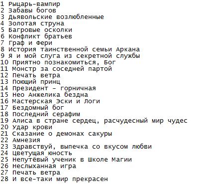 аниме списки по жанрам: