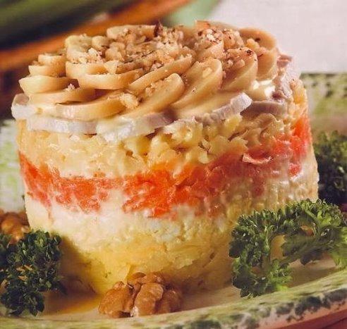 салат слоенные с фото