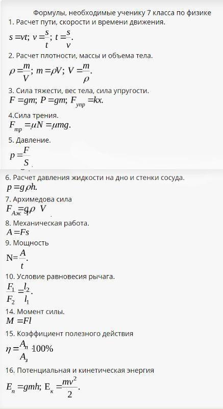 По класса формулы шпаргалка 10 физике