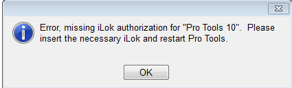 missing ilok for pro tools 10