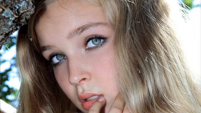 Russian Teen Mia With Beautiful Green Eyes Outdoors Russia 1