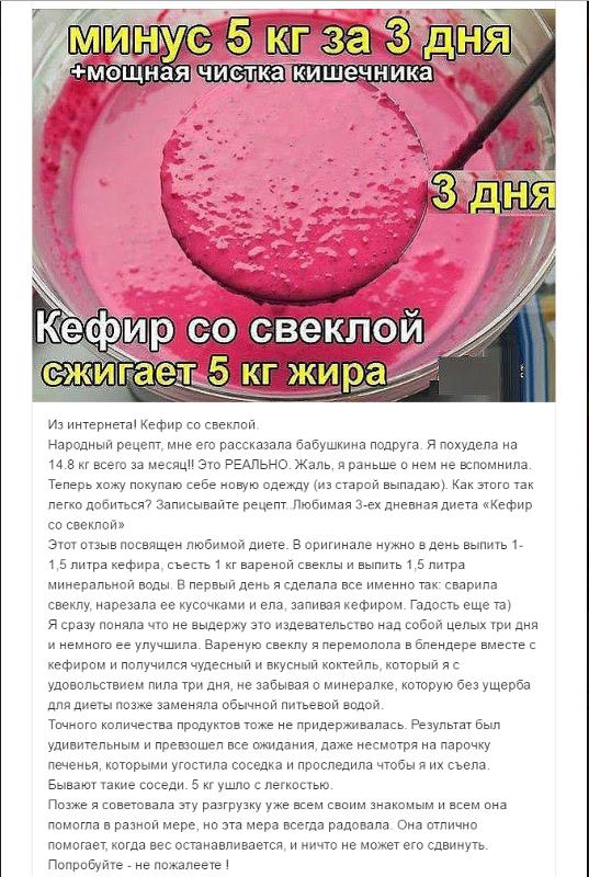 Рецепт Похудения Кефир Свекла. Кефирно-свекольная диета для быстрого похудения