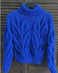 Как связать свитер листьями