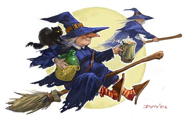 Смешные картинки с ведьмами на метле