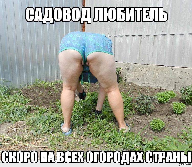 Хуем фото баба на огороде раком юбке чулках