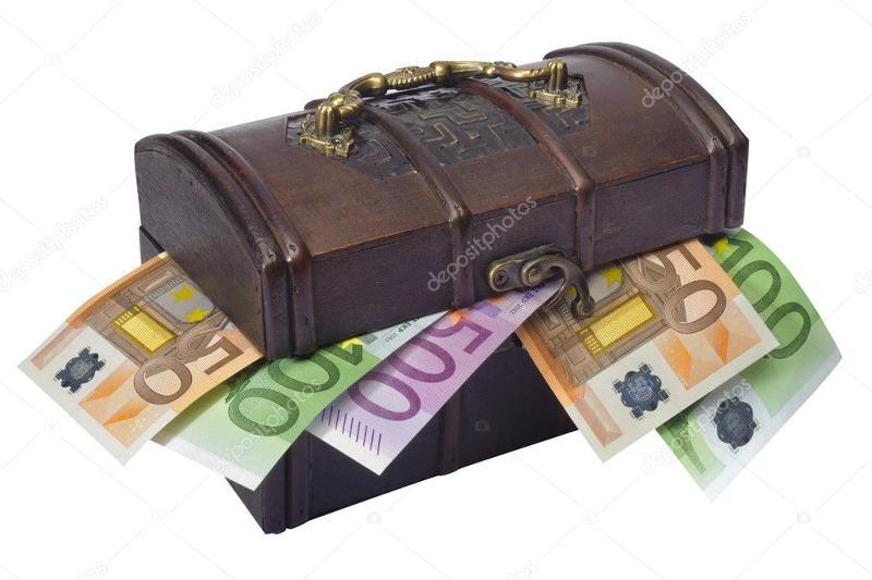 Открытка сундук с деньгами