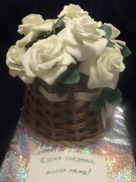 Фото-рецепт приготовления торта корзина роз