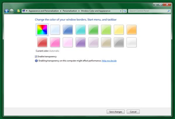 Как поменять цвет на панели задач виндовс 7