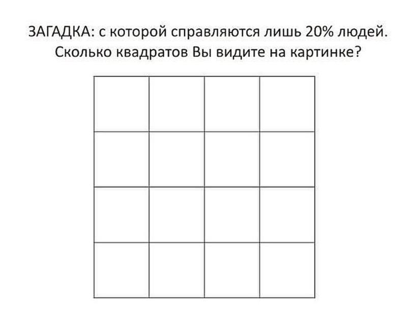 Загадка сколько квадратов изображено на картинке