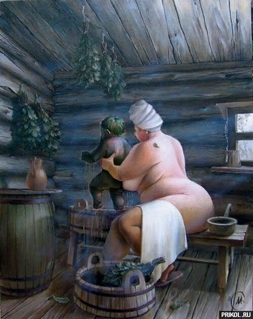 мальчик с мамой в бане