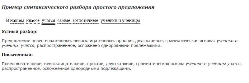 Страстные синтаксический разбор предложения образец русским
