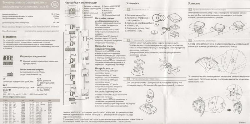 спидометр cyclotech i6 инструкция
