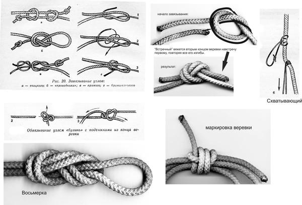 Вот схемы завязывания узлов.