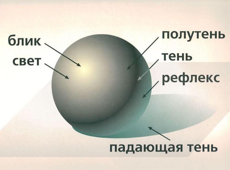 Тень полутень свет рефлекс
