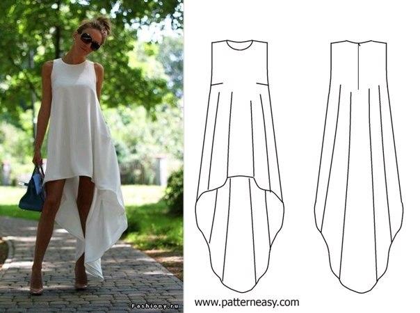Платье короткое с шлейфом выкройка