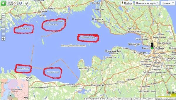 финский залив на карте россии где находится