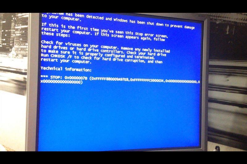 синий экран виндовс 7после запуска модели термобелья