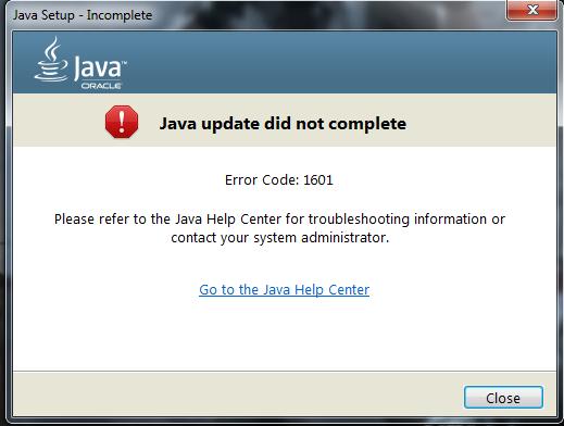 Ответы Mail.ru: Не устанавливается Java. Ошибка 1601