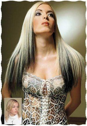 Покраска волос в два цвета черный и белый фото