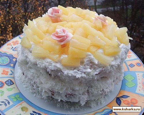 Торт с консервированными ананасами рецепт с фото