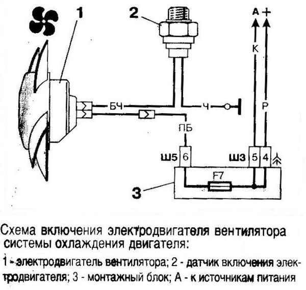 Схема включения вентилятора охлаждения ваз 2107 карбюратор