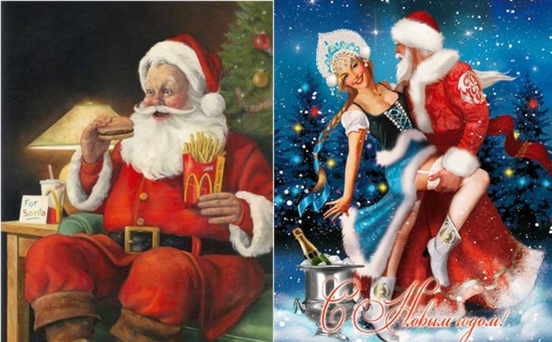 Прикольные дед мороз и снегурочка картинки, влюбленный прикол открытка