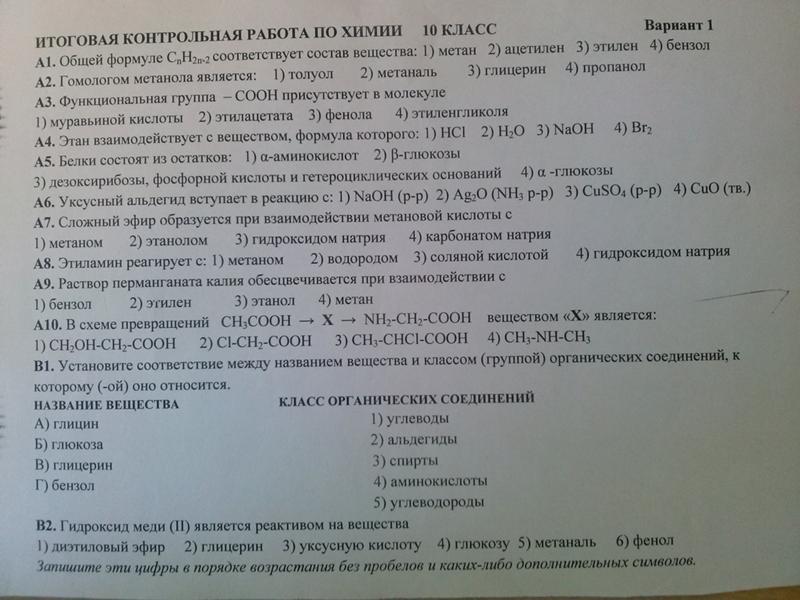 проверочная работа по химии 10 класс аминокислоты