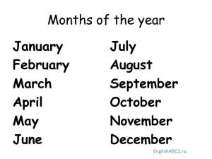 Названия дней недели и месяцев на английском языке