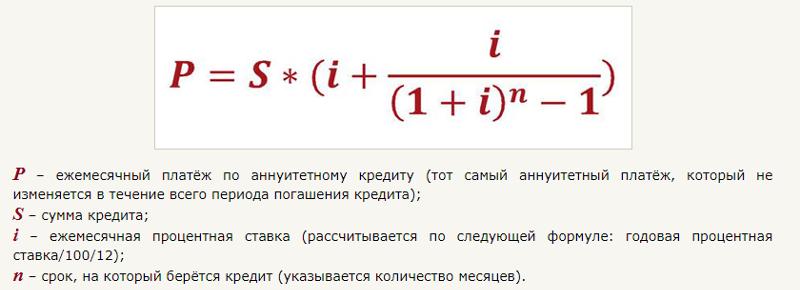 как считается кредит формула
