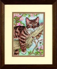 Схемы для вышивок кот на дереве