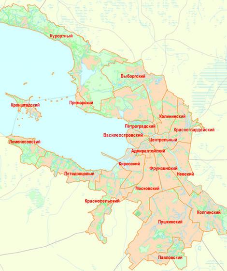 Карта питера по районам