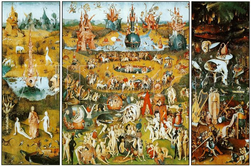a comparison of dantes inferno and hieronymus boschs garden of earthly delights The garden of earthly delights this view is reinforced by the rendering of god in the outer panels as a tiny figure in comparison hieronymus bosch.
