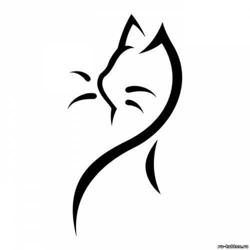 Вышивка контуром кошки