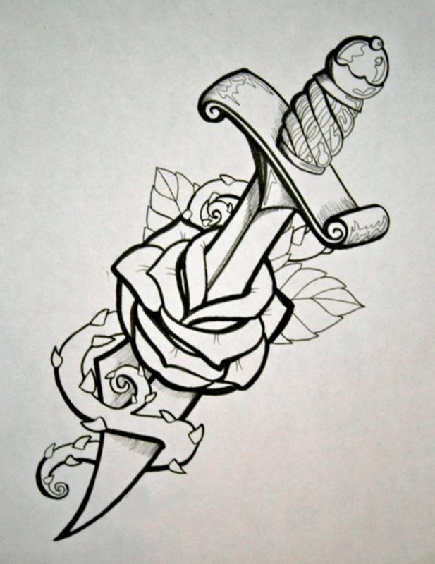Роза с кинжалом татуировка