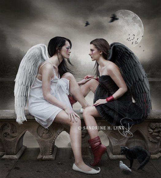 белый и чёрный ангел картинки