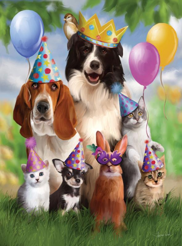 Днем, открытка с животными днем рождения