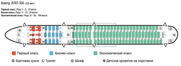 Боинг 767 300 икар схема салона