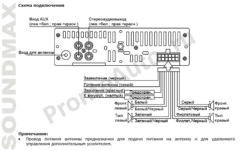 Схема подключения soundmax sm-ccr3033
