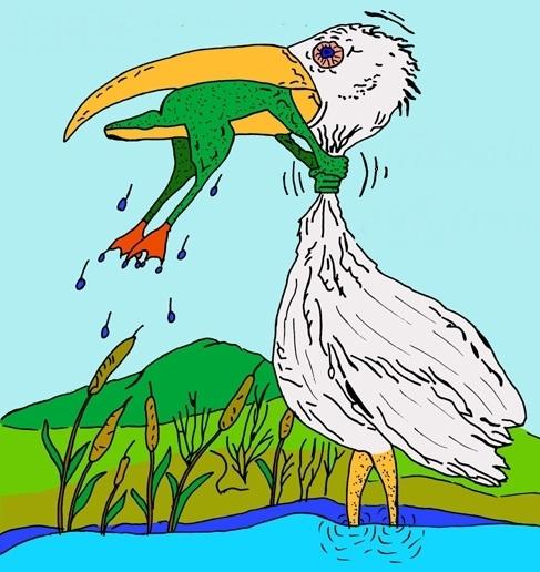 Картинка где лягушка душит цаплю