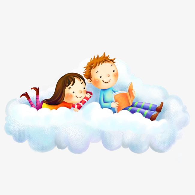 Он и она в облаках картинки для детей