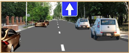Трехполосная дорога с двухсторонним движением парковка слева