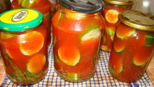 Огурцы в томате зиму рецепты фото