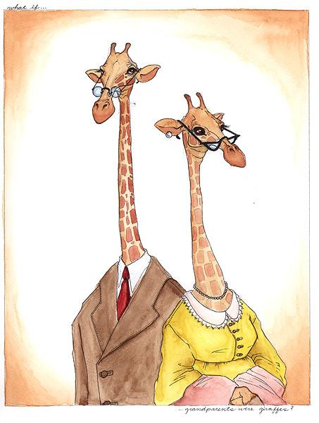 Поздравления открытки, рисунки жирафов прикольные