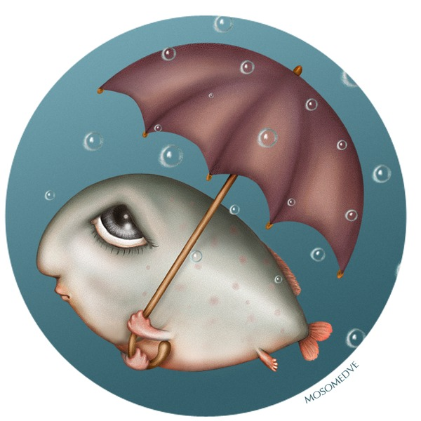 Рисунки прикольных рыб, открытка цветами