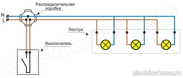 Схема подключения проводов к лампочке