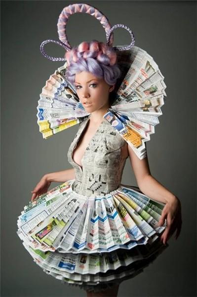 Самодельное платье газета