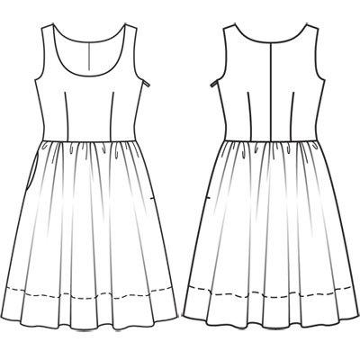Построить выкройку платья солнце